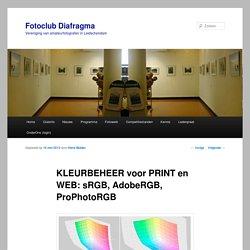 KLEURBEHEER voor PRINT en WEB: sRGB, AdobeRGB, ProPhotoRGB