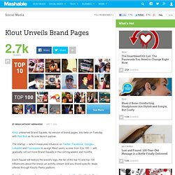 Klout Unveils Brand Pages
