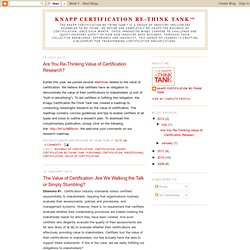 Knapp Certification Re-Think Tank™