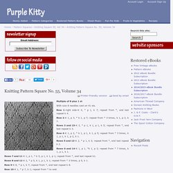 Knitting Pattern Square No. 55, Volume 34
