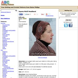 ABC Knitting Patterns - Square Motif Headband.