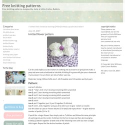 Free knitting patterns: knitted flower pattern