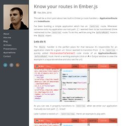 Know your routes in Ember.js - ugisozols.com
