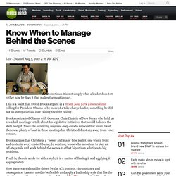 Know When to Manage Behind the Scenes | BNET