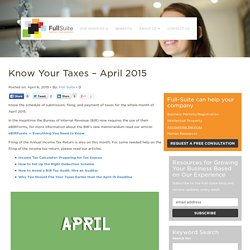 Know Your Taxes - April 2015