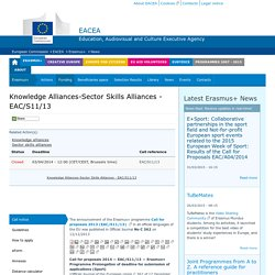 Knowledge Alliances-Sector Skills Alliances - EAC/S11/13