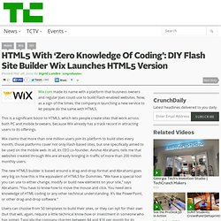 HTML5 With 'Zero Knowledge Of Coding': DIY Flash Site Builder Wix Launches HTML5 Version