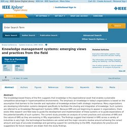 Knowledge management systems: emerging views and practices from the field - IEEE Xplore Document