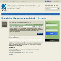 Knowledge Management and Quality Systems