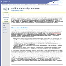 Online Knowledge Markets (David Skyrme Associates)