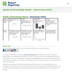Depth of Knowledge Matrix - Elementary Math