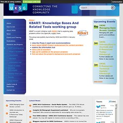 KBART: Knowledge Bases And Related Tools working group
