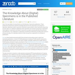 The Knowledge About (Digital) Specimens is in the Published Literature