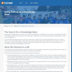 Using Github as a Knowledge Base — TeamSnap Developer Portal