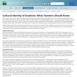 Cultural Identity of Students: What Teachers Should Know