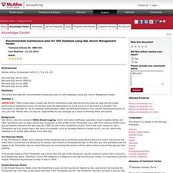 KnowledgeBase - Recommended maintenance plan for ePO database using SQL Server Management Studio