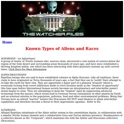 Known Types of Aliens and Races