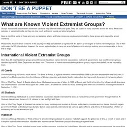 What are Known Violent Extremist Groups?
