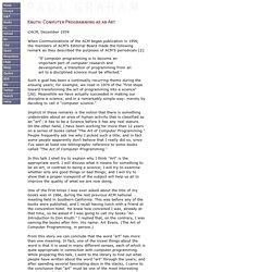 Knuth: Computer Programming as an Art