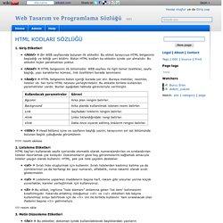 HTML KODLARI SÖZLÜĞÜ - Web Tasarım ve Programlama Sözlüğü