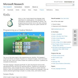 Kodu-Logiciel Codage Microsoft