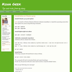 Koha Geek: Install Koha on Ubuntu 14.04
