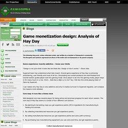 Pete Koistila's Blog - Game monetization design: Analysis of Hay Day