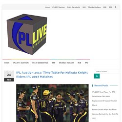 Time Table for Kolkata Knight Riders IPL 2017 Matches- VIVO IPL 2017