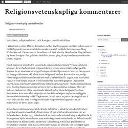 Religionsvetenskapliga kommentarer: Satanism, religionsfrihet, och kampen om aborträtten