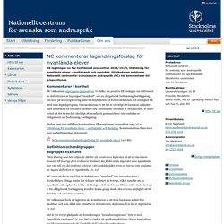 NC kommenterar lagändringsförslag för nyanlända elever