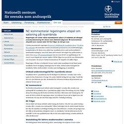 NC kommenterar regeringens utspel om satsning på nyanlända