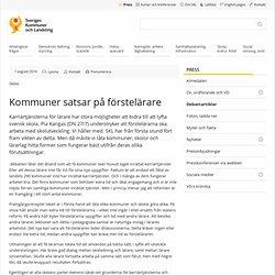 Kommuner satsar på förstelärare - SKL