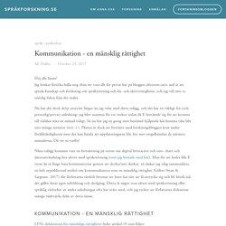 Kommunikation - en mänsklig rättighet — språkforskning.se