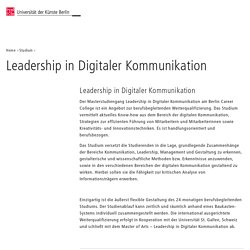 Leadership in Digitaler Kommunikation – Universität der Künste Berlin