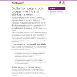 Digital kompetens och programmering ska stärkas i skolan