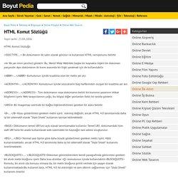 Html Komut Sözlüğü - Online Web Tasarım