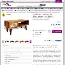 Konferenční stolek se zakřiveným okrajem ve starožitném stylu vyrobený z recyklovaného dřeva