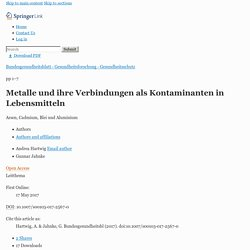Bundesgesundheitsblatt Gesundheitsforschung Gesundheitsschutz. 2017 May 17. [Article en allemand] [Metals and their compounds as contaminants in food : Arsenic, cadmium, lead and aluminum].