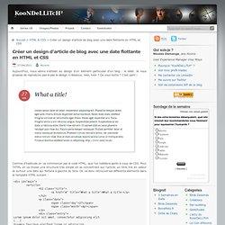 Créer un design d'article de blog avec une date flottante en HTML et CSS