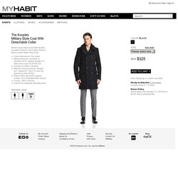 The Kooples Men's Military-Style Coat with Detachable Collar at MYHABIT