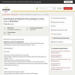 Koordinátor predajného tímu-predajca... 29/02/2016