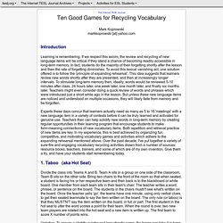 Koprowski - Ten Good Games for Recycling Vocabulary