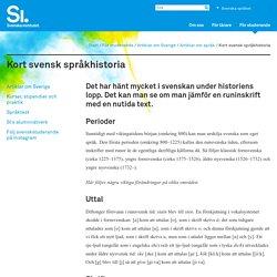 Kort svensk språkhistoria