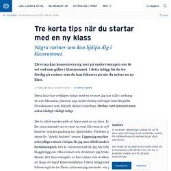 Tre korta tips när du startar med en ny klass · Maria Kempe