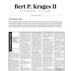 Bert P. Krages Attorney at Law Photographer's Rights Page