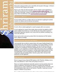 Shriram Krishnamurthi: Note to Interested Students