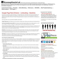 Konzept: Page Rank Kriterien - Linkbuilding - Backlinks | Konzeptionist.at