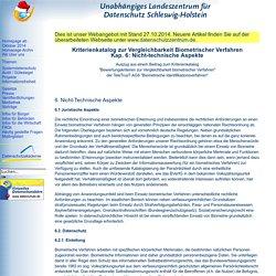 Kriterienkatalog zur Vergleichbarkeit biometrischer Verfahren - nicht-technische Aspekte