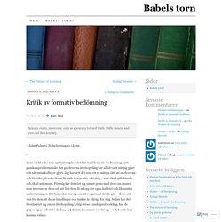 Kritik av formativ bedömning