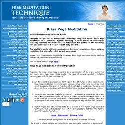Kriya Yoga Meditation Technique